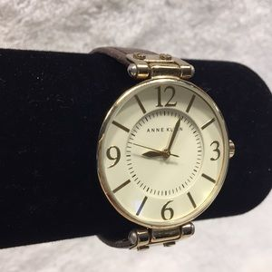 "Accessories - Anne Klein Watch Gold Tone Brown Leather 8"" EUC"